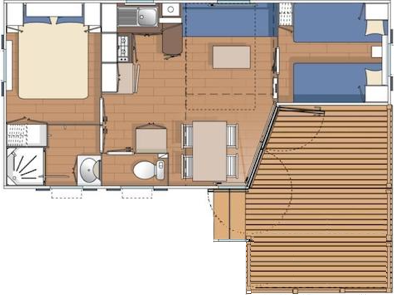 Camping des Alouettes plan mobil home nouvelle terrasse integree 2 chambres